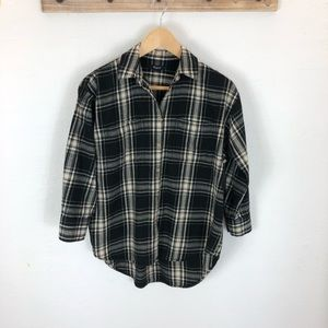 Madewell button down flannel with 3/4 sleeves